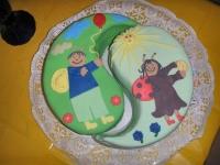 Liza és Luca (ikerlányok) 2. szülinapi tortája, JIN ÉS JANG IKERTORTA Készítette: Lading Rita